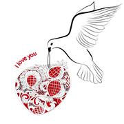 Dove and heart Stock Illustration