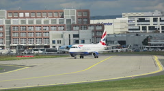 Embraer 170 British Airways taxiing - stock footage