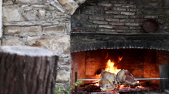 Meat on a spit in front of a fireplace with a log in foreground. - stock footage