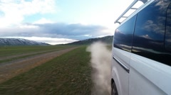 Stock Video Footage of Machine Moving on a Dirt Road in Highland Reserves Dusty Trail
