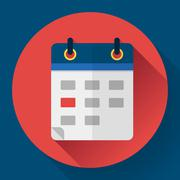 Calendar or mobile app organizer icon, vector illustration. Flat design style - stock illustration