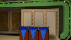 LiteSet31 Angle B Game Show Set with Screen and Contestant Podiums Stock Footage