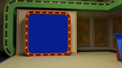 LiteSet31 Angle C Game Show Set with Screen and Contestant Podiums Stock Footage
