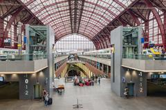 Renovated interior of famous Antwerp main station, Belgium Stock Photos