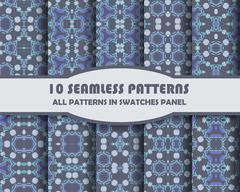 Vector of Seamless Patterns set - stock illustration