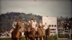 1944: Equestrian horse riding expo wealthy patrons show off. Stock Footage