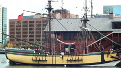 Boston Tea Party Museum. Replica of ship from which tea has been dumped. Stock Footage