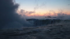 Horseshoe Falls on Cold Winter Dawn Stock Footage