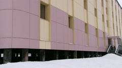 Modern hotel building in the Russian arctic settlement Barentsburg, Norway. Stock Footage