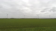 Moving through polder landscape wind turbines in background 4k Stock Footage