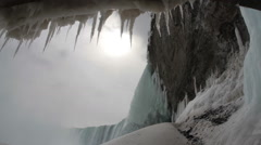 Icicles Melting, Frozen Falls with Sound Stock Footage