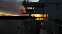 Beautiful View of Vivid Sunset From Deck of Ship at baltic Sea Stock Footage