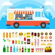 Food truck with snacks and confectionery - stock illustration