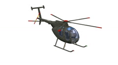 Black helicopter flying animation loop isolated white background Animation 3D Stock Footage