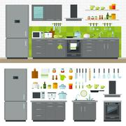 Modern Kitchen Utensils, Furniture, Interior Stock Illustration