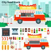 Food truck with snacks in the city - stock illustration