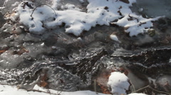 Stock Video Footage of Ice partially covering freezing running stream in winter with snow with sound