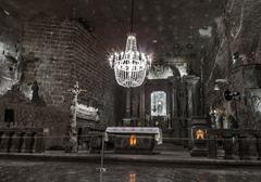 St. Kinga's Chapel  - 101 meters underground in Wieliczka Salt Mine - stock photo