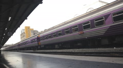 Train moving in station Stock Footage