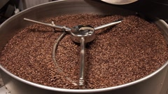The Mixer of The Device of the Frying Coffee.Wide shot Stock Footage