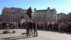 London England Unicycle performer Trafalgar Square 4K Stock Footage