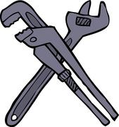 Two adjustable wrenches - stock illustration
