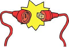 Plug with socket - stock illustration