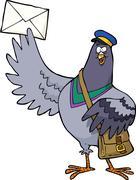 Cartoon post pigeon - stock illustration