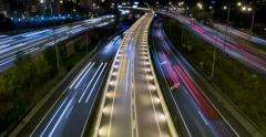 Cinemagraph night scene of traffic and roads.Time Lapse - Long exposure - 4K - stock footage