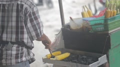 Roasted corn. Street food. - stock footage