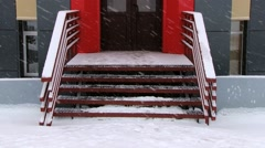 Red modern building in the Russian arctic settlement Barentsburg, Norway. Stock Footage