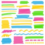 Highlighter Color Stripes, Strokes and Marking Design Elements Stock Illustration