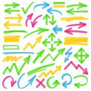 Highlighter Arrows and Marking Design Elements Stock Illustration