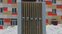 Exterior of the Lenin bust in the Russian arctic settlement Barentsburg, Norway. - stock footage
