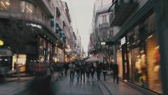 Hypelapse people, crowd, shoppers on Ermou str Athens,Greece Stock Footage