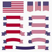 Red white blue american flag, ribbons and banners Piirros