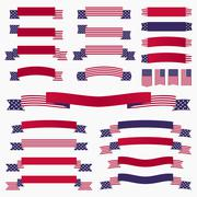 Red white blue american flag, ribbons and banners - stock illustration