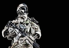 Cyber army soldier - stock illustration
