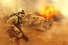 attacking the enemy - stock illustration