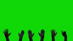 3 Pare of Hands in Black Gloves on a Green Screen Background Stock Footage