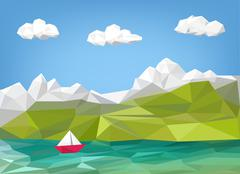 Landscape illustration - mountain, lake and sailing boat low poly graphic Stock Illustration