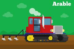Banner of a agricultural crawler tractor with plow tillage field. Stock Illustration