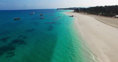 Aerial view Flying camera over Sea Beach. Africa. Tanzania. Zanzibar. Stock Footage