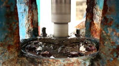 Shaft water pump, Pipe and supply pump. Stock Footage