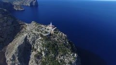 Flying over lighthouse at Cape Formentor. Stock Footage