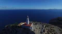The lighthouse at Cape Formentor. Aerial view. Stock Footage