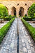 moorish garden Zaragoza Spain - stock photo