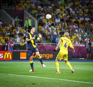 UEFA EURO 2012 football game Ukraine vs Sweden - stock photo