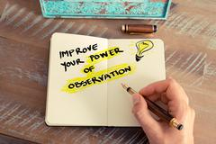 Handwritten text IMPROVE YOUR POWER OF OBSERVATION - stock photo