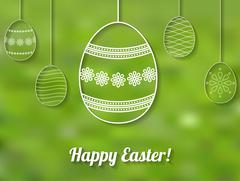 Happy Easter card with white perforated easter egg ornaments Stock Illustration